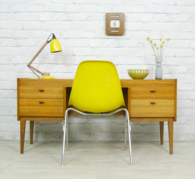 Bureau deco jaune construire ma maison for Bureau jaune